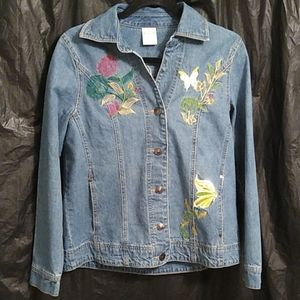 Bedford Fair embroidered jean jacket w/butterfly 8